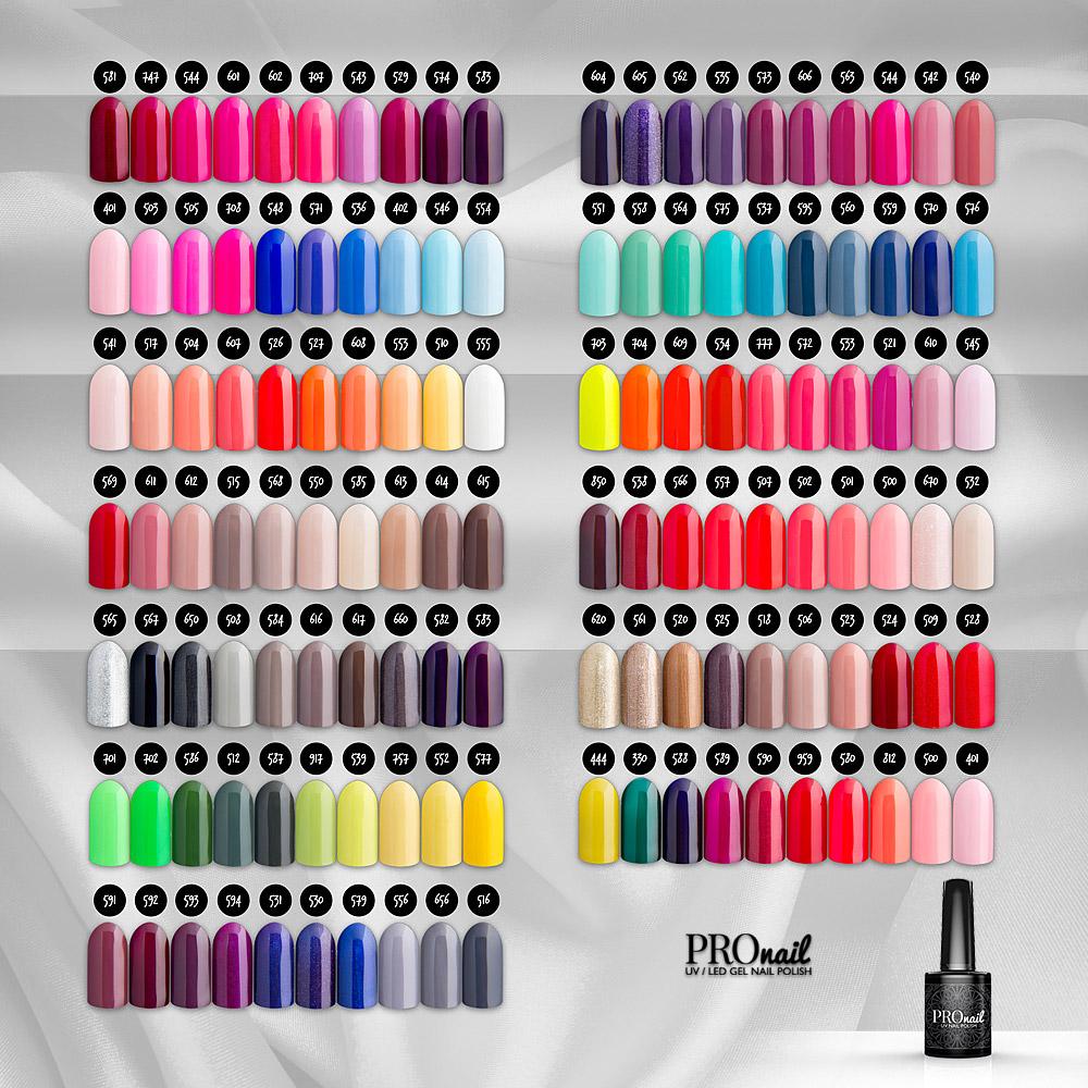 Lakiery hybrydowe PROnail - hybrydy PROnail - paleta kolorów, kolory, kolory lakierów hybrydowych
