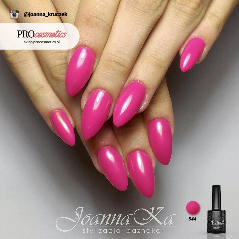 Paznokcie żelowe różowe paznokcie hybrydowe biskupi róż PROnail 544 lakiery hybrydowe