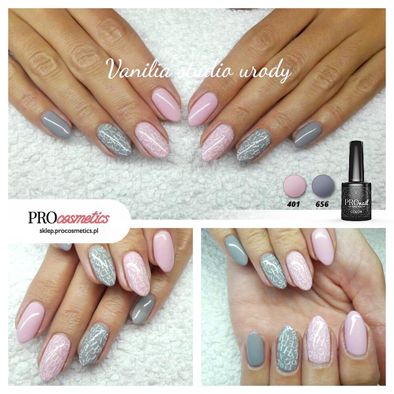 Szaro różowe paznokcie pastelowe hybrydowe - PROnail 401, 656 - stylizacja paznokci