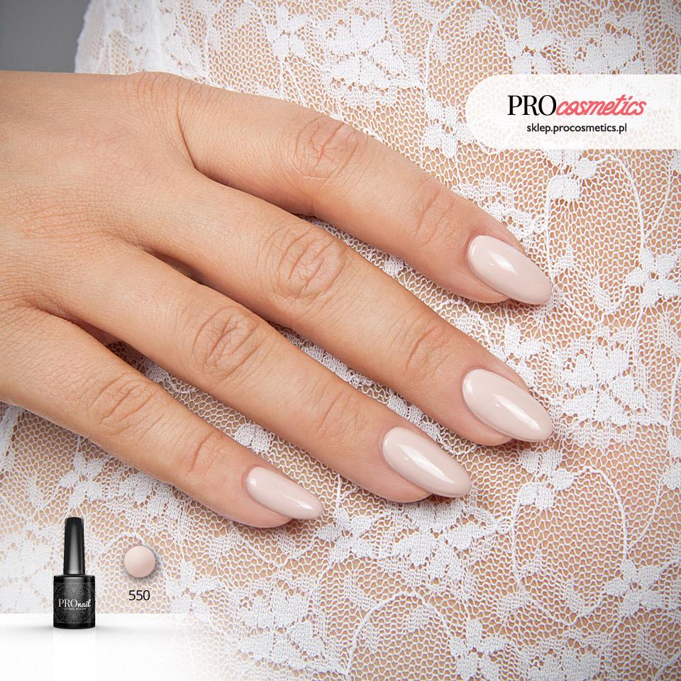 Paznokcie nude nudziaki hybrydowe żelowe PROnail 550 Uciekająca Panna Młoda cieliste paznokcie
